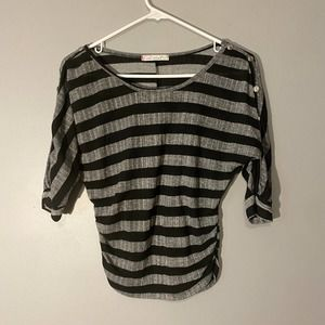 Chris & Carol Gray Striped Ruched Top